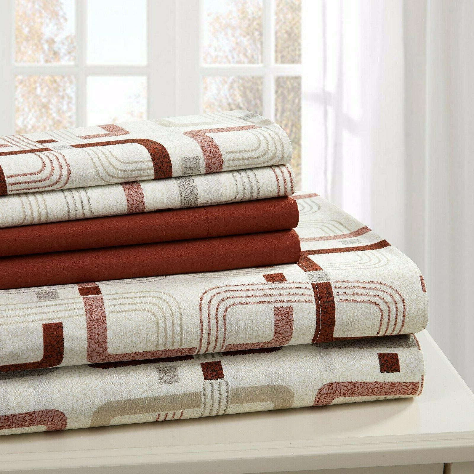 SHEET SET PRINT 6 PIECE COTTON PERCALE SOFT DEEP POCKET  FRE