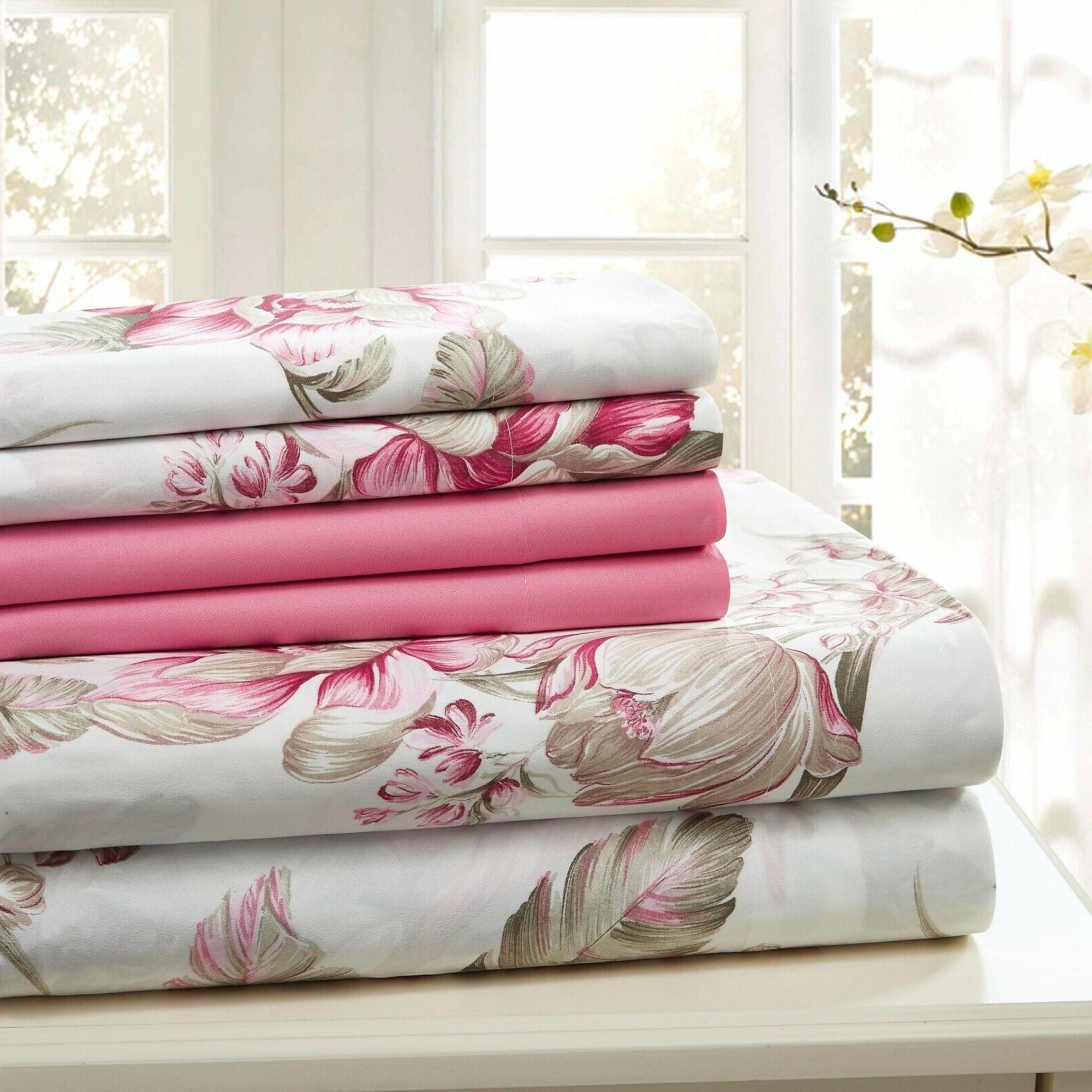 SHEET SET QUEEN KING PRINT 6 PIECE COTTON PERCALE FREE WASH