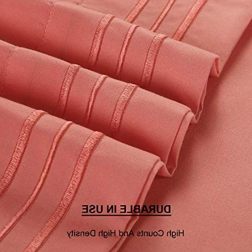 "TEKAMON Premium Piece Bed Sheet Bedding Microfiber Polyester - Breathable, Wrinkle Fade 10-16"" Extra"