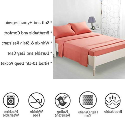 TEKAMON Bed Set Bedding 100% - Breathable, Fade Resistant - Extra Deep Pockets, Coral
