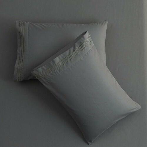 Egyptian Comfort 1800 4 Piece Pocket Bed Sheet Set Sides king queen