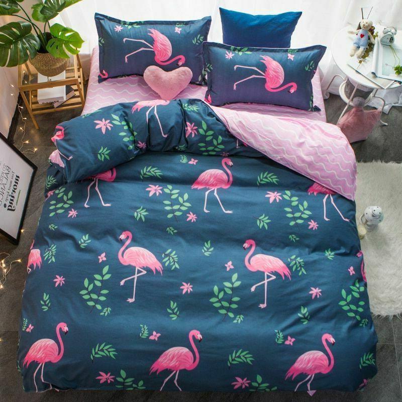 Bedding Set Duvet Cover Flat Sheet Pillowcase King Queen Siz