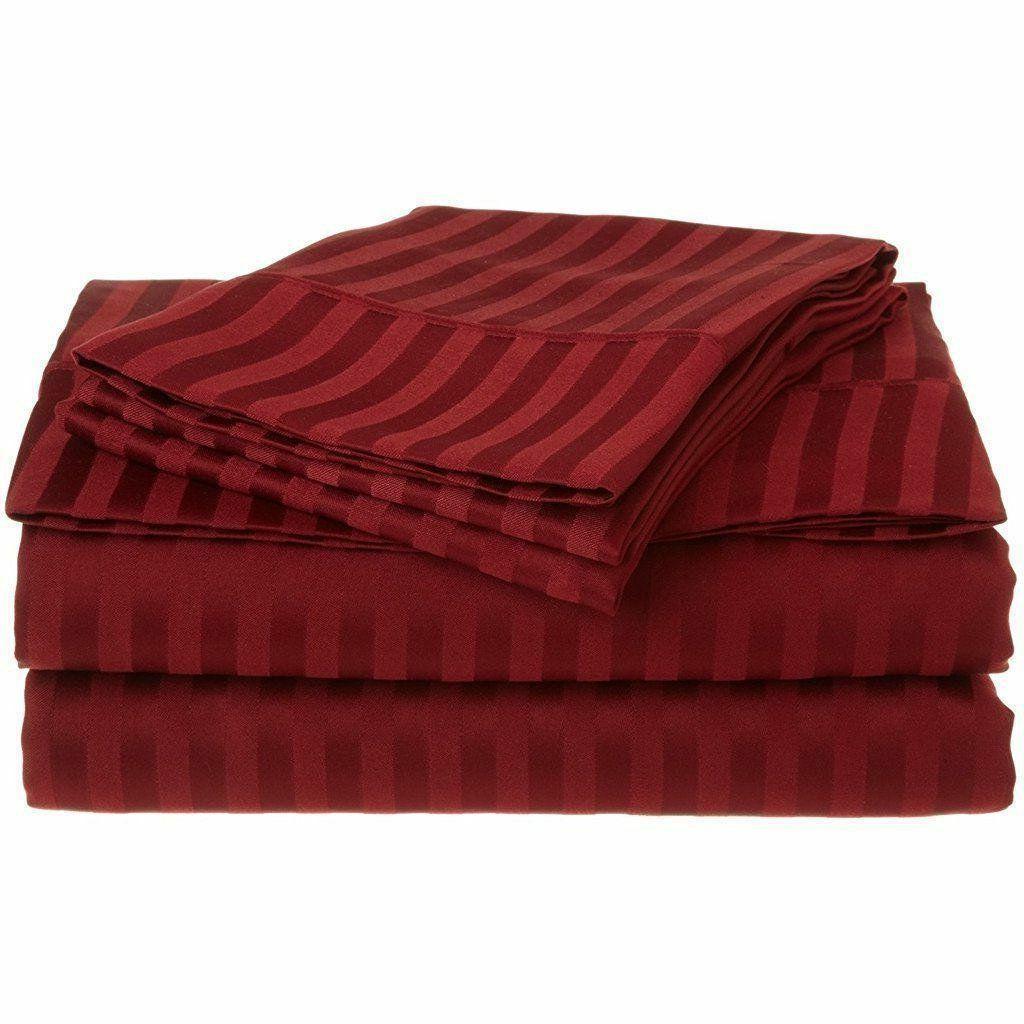 burgundy stripe king sheet set 4 piece