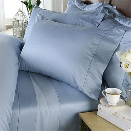 KING SIZE BLUE SOLID BED SHEET SET 800 THREAD COUNT 100% EGY