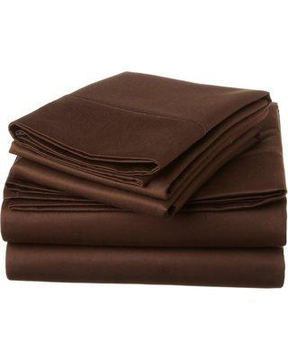 "Chocolate Size 4 Bed Sheet Set 15"" Deep Elastic All Round 400-Thread-Count Stronger Durable By"