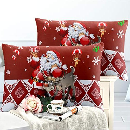 Junhome Pillowcases for Kids Red Santa Printed Cases King