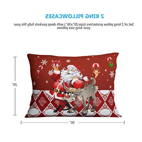 """Junhome Christmas Pillowcases for Kids Elk Printed Christmas King 20""""x36"""""""