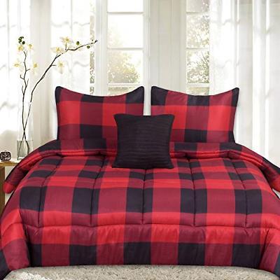 Sweet Home Collection Comforter Set 4 Piece Buffalo Check Pl