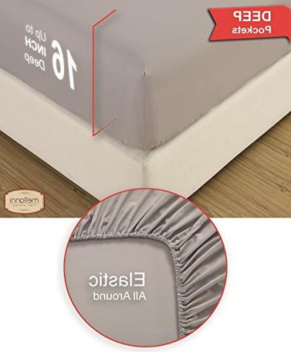 Mellanni 100% Sheet Set Thread Sateen Weave - Pocket - 4 Piece