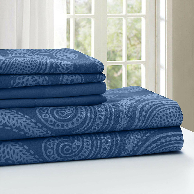 Deep Pocket 6 Piece Bed Count Egyptian Paisley Sheet Set