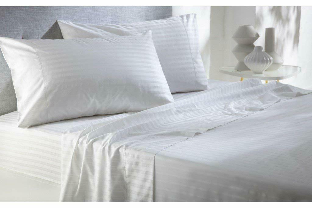 Egyptian Cotton 800 Count & 2 Pillowcases White Stripe