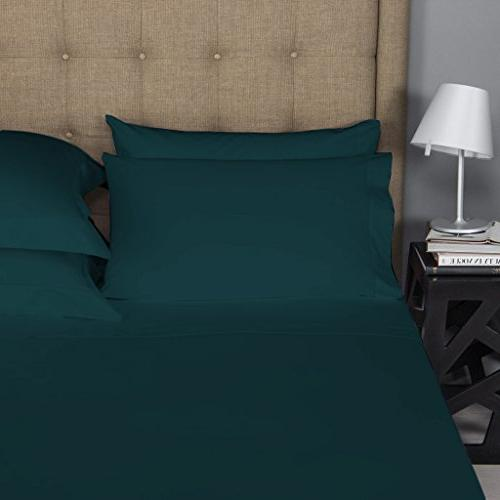 Mayfair Linen 100% COTTON Sheets, TEAL KING Sheets COUNT Staple and Silky Feel, Fits Mattress upto DEEP Pocket