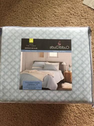 flannel sheet set king size blue geo