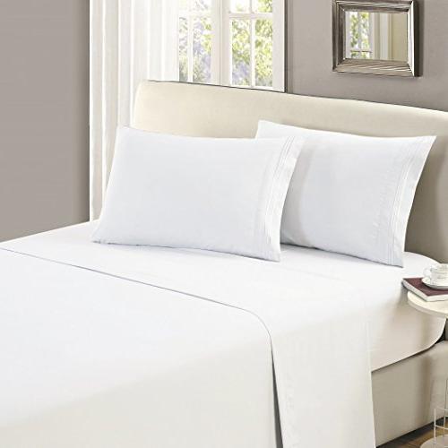 flat sheet king white brushed