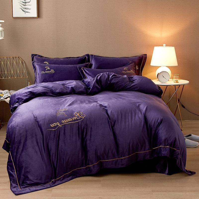 Fleece Luxury Bedding Set Embroidery <font><b>Sheet</b></font> Queen <font><b>King</b></font>