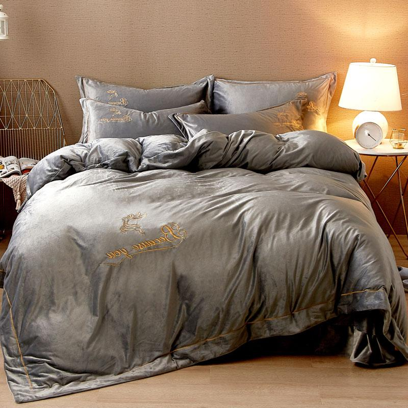 Fleece Luxury Bedding Set Embroidery Duvet <font><b>King</b></font> size