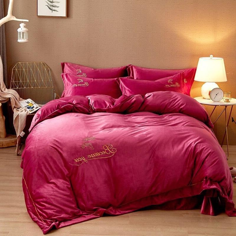 Fleece Bedding Flannel Embroidery <font><b>Sheet</b></font> <font><b>Extra</b></font> <font><b>King</b></font> 4pcs