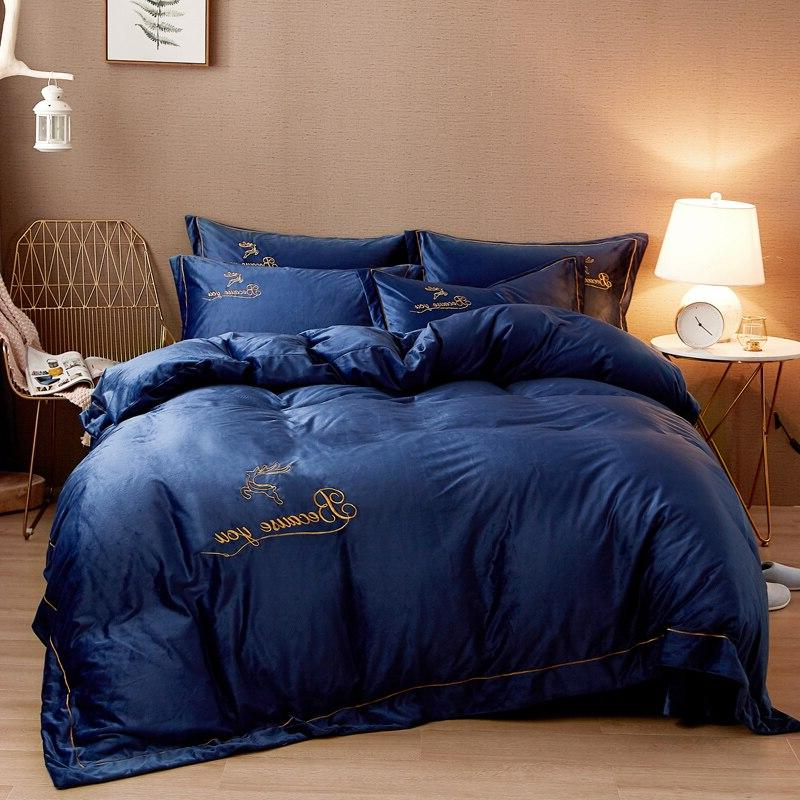 Fleece Soft Bedding Embroidery Duvet Cover Bed <font><b>King</b></font>