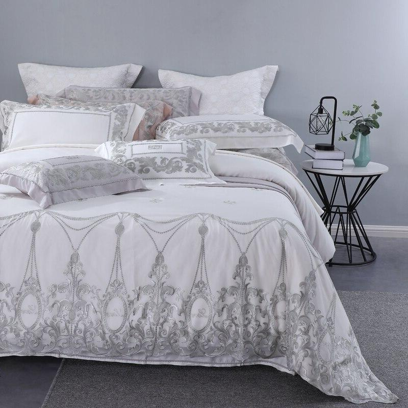 <font><b>800</b></font> Lace Design 4 Bedding Sets <font><b>King</b></font> Size Wedding Princess Tencel Duvet Set