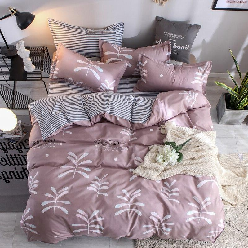 <font><b>New</b></font> linen Set Cow Curve Pillowcase Cover Set Full 4pcs bed