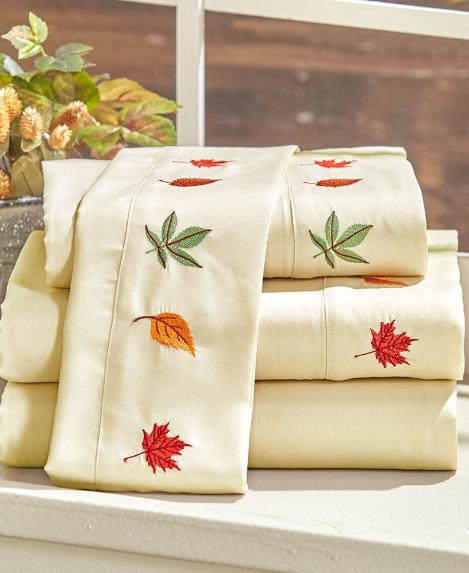 Full Queen or King Sheet Set Fall Decorations Home Embroider