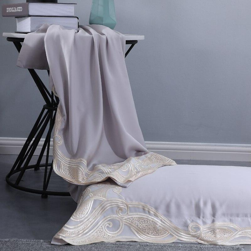 Grey Lace Sets Organic Silky Bedclothes <font><b>800</b></font> <font><b>Thread</b></font> Density