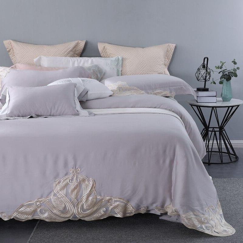Grey 100% Tencel Lyocell Lace Natural Organic Silky Soft Bedclothes <font><b>800</b></font> <font><b>Thread</b></font> <font><b>Count</b></font>