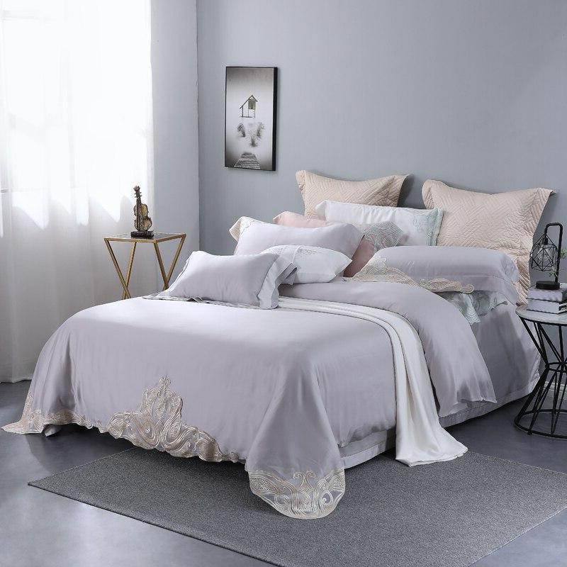 Grey Lace Natural Organic Bedclothes Queen <font><b>King</b></font>