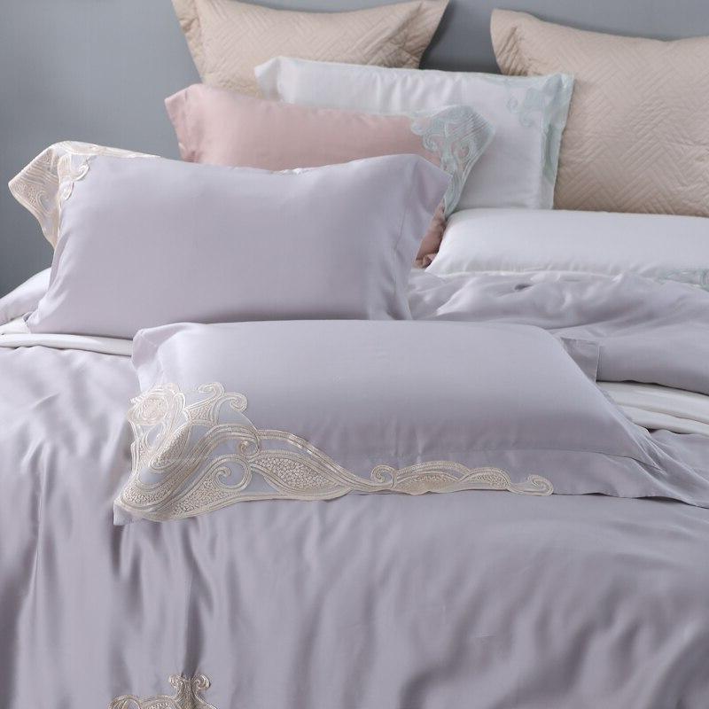 Grey Lace Organic Silky Soft Bedclothes <font><b>King</b></font> <font><b>800</b></font> <font><b>Thread</b></font> <font><b>Count</b></font> Density