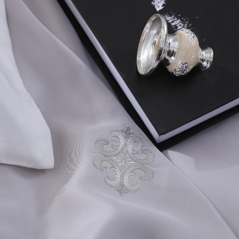 Grey 100% Tencel Lace Princess Bedding <font><b>800</b></font> <font><b>Count</b></font> Wedding Set For Queen <font><b>King</b></font>
