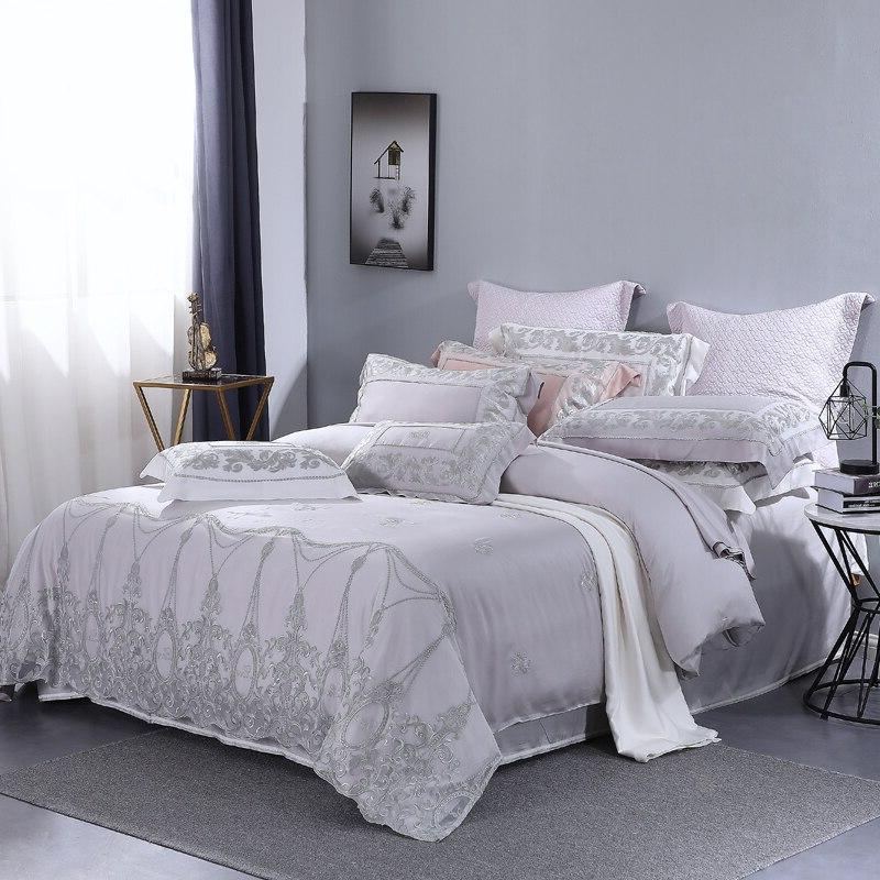 Grey Lace Princess 4 Piece Bedding Sets <font><b>Thread</b></font> Set Queen