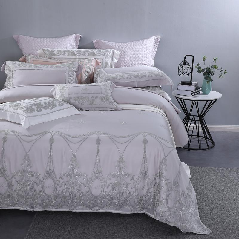 Grey Lace Princess Piece Bedding <font><b>800</b></font> <font><b>Count</b></font> Wedding Set Bed