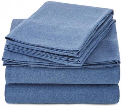 heather jersey sheet set twin chambray