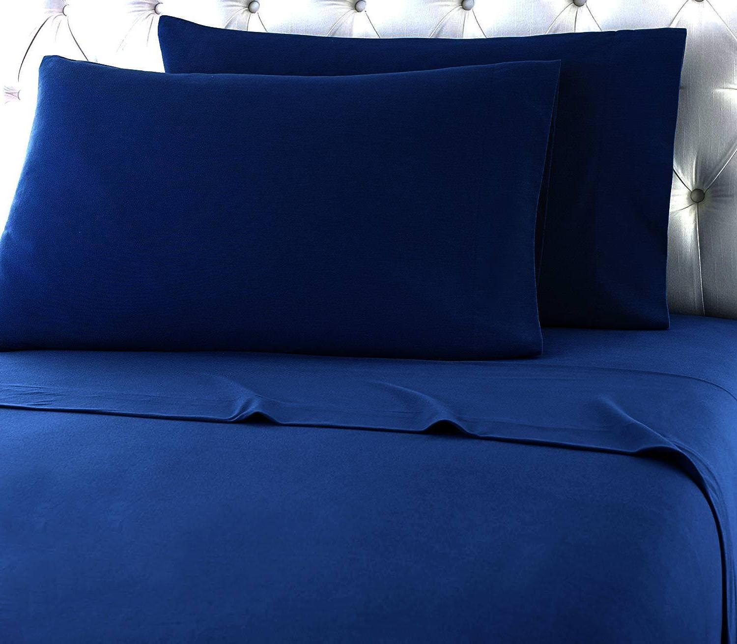 Heavy Winter Flannel 100% Cotton Navy Pillow Cases Deep Pock