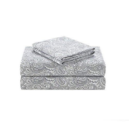 100% Cotton Set Soft King Bed Deep Pocket - Grey Bedding King