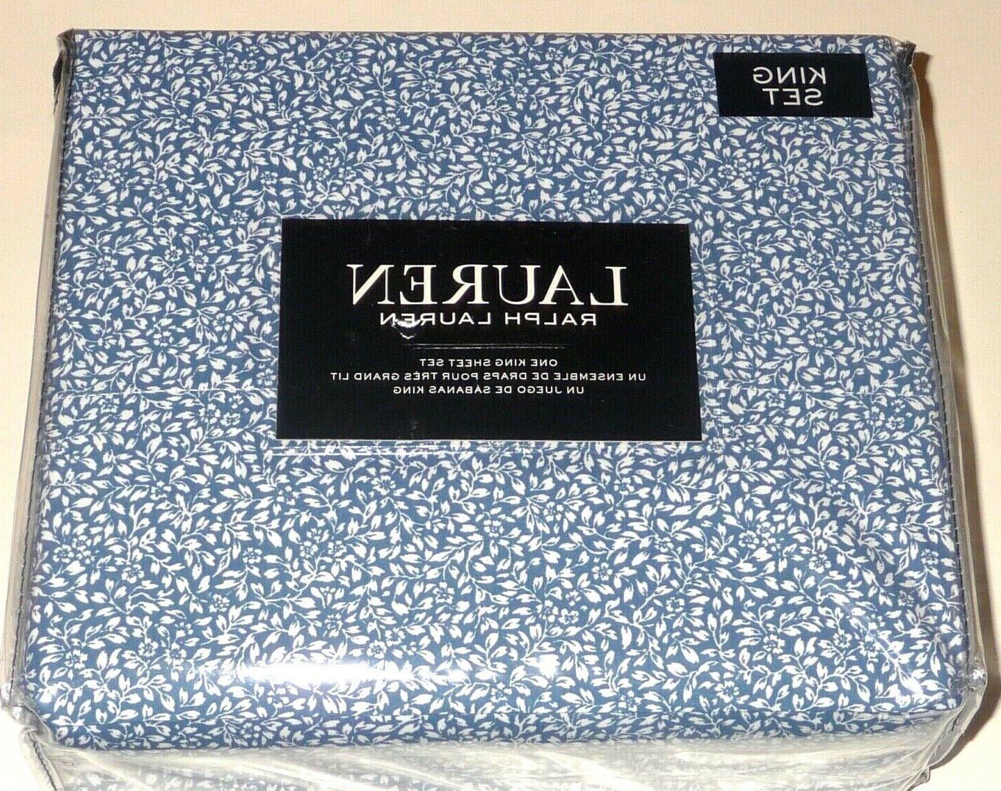 Ralph Lauren KING 4-PC SHEET SET - NAVY BLUE MINI LEAVES FLO
