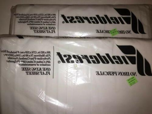 FIELDCREST KING FLAT SHEETS WHITE PERCALE NEW UNOPENED WITH