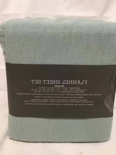 "Threshold KING Green Full Flannel Set 100% Cotton Soft 17"""