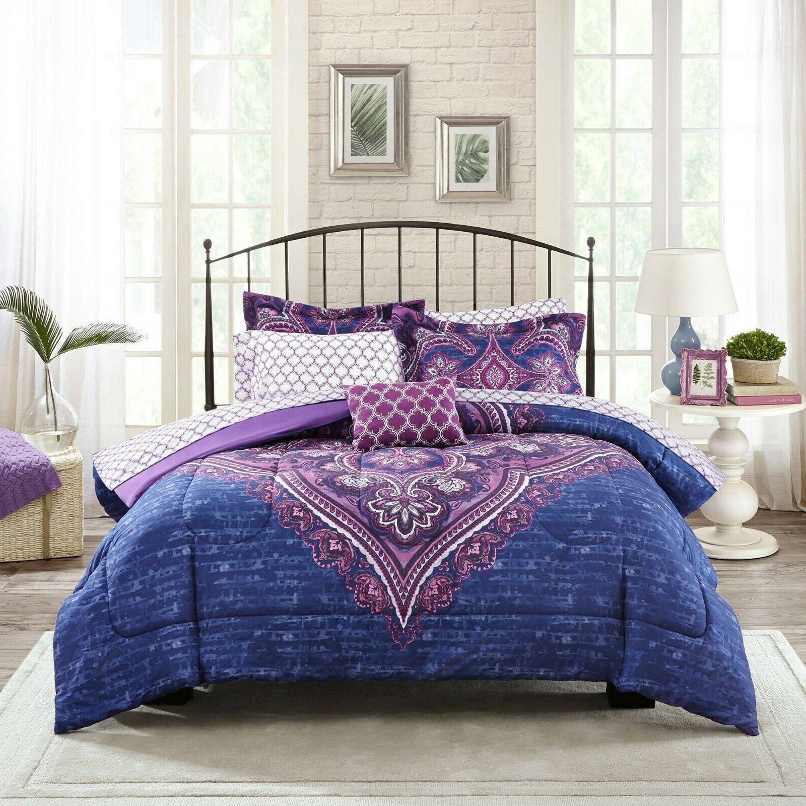 King Bedding Set Sheets 8 Girl Comfort Purple