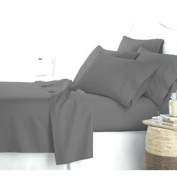 LUXURIOUS SET GREY SOLID COTTON 600 THREAD COUNT 10 DEEP