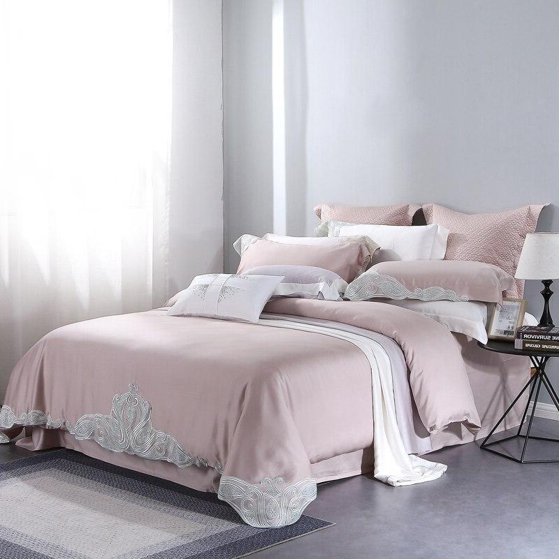 Luxury Mauve <font><b>Thread</b></font> Lace Princess Bedding Sets Queen 4 Double Cover Set