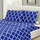 Simmons Mellanni TwinXL Size Quatrefoil Imperial Blue Bed Sh