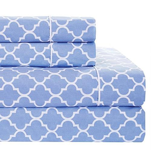 meridian periwinkle white brushed percale