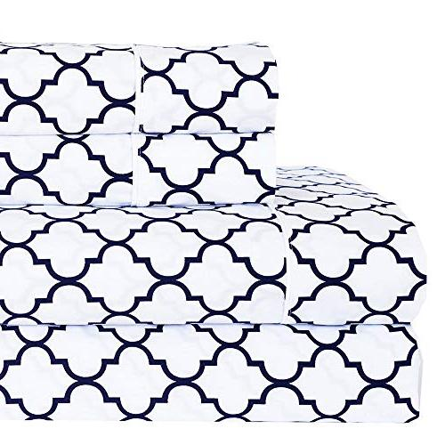 meridian white navy brushed percale