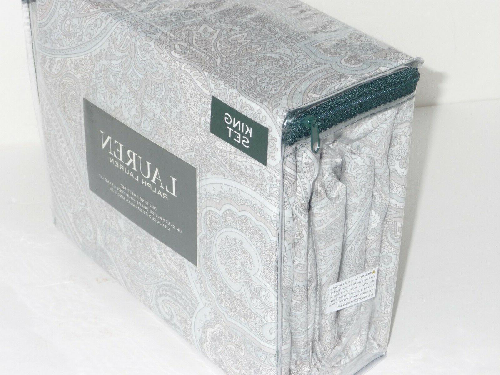 Ralph Lauren PAISLEY KING SHEET GRAY WHITE NEW