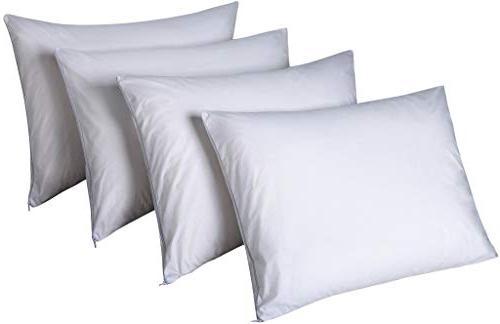 Pillow Protectors Certified Allergy Mite Fresh 4 100% Non Crinkle Quiet Zipper Cases Set