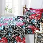 Printed Bed Sheet Set, King Size - Red Camellia - By Clara C