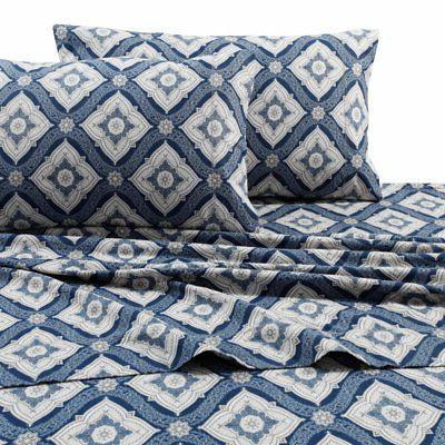 printed flannel 4 piece damask sheet set