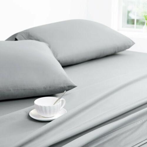 Soft Sheets Set 4 Piece Deep Bedding Queen Full Twin