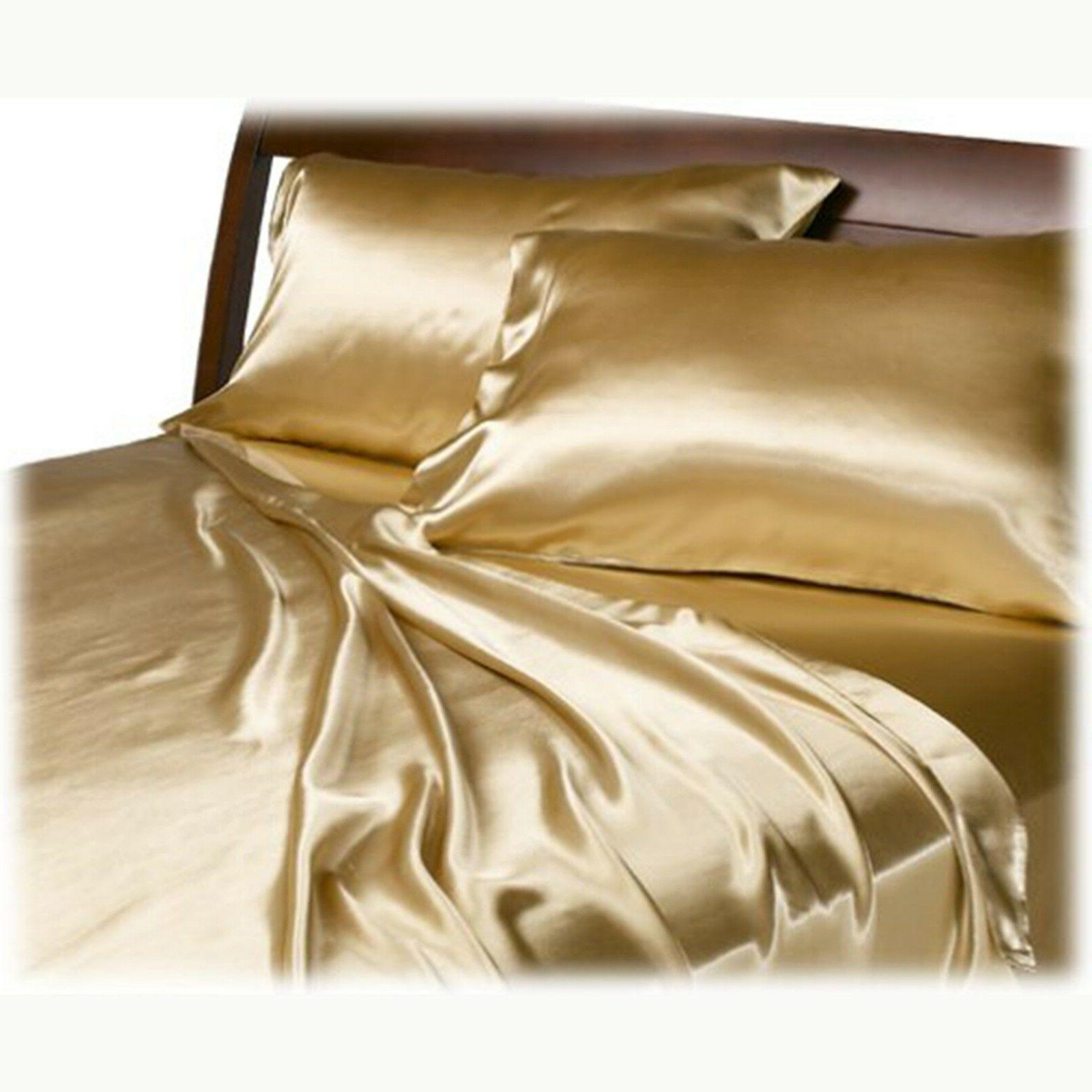 Satin Charmeuse Sheet Queen King Feel 4 Luxury Gold